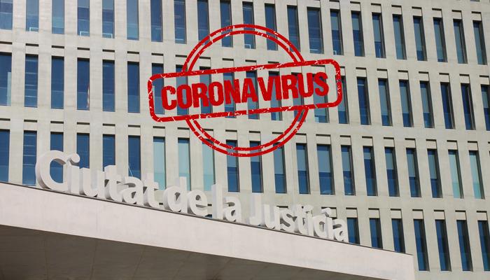 Imagen de los juzgados de Barcelona en la Ciudad de la Justicia durante el decreto de estado de alarma por coronavirus